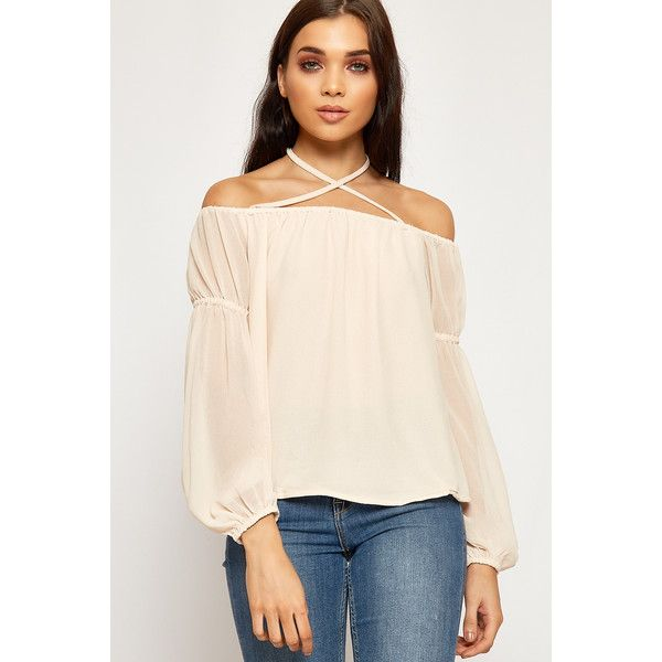 WearAll Chiffon Lined Cross Over Gypsy Boho Top ($30) ❤ liked on Polyvore featuring tops, nude, long sleeve tops, bohemian tops, boho tops, long sleeve chiffon top and halter-neck tops