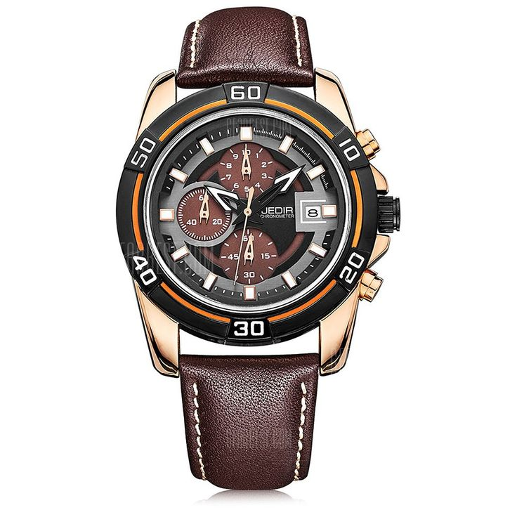 [ $39.23 ] JEDIR 2023 Trendy Leather Strap Men Quartz Watch  -  BROWN