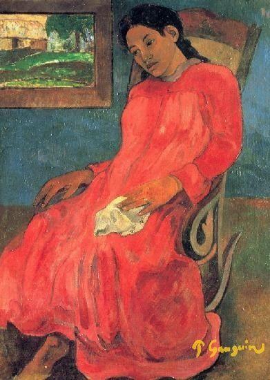 Женщина в красном Поль Гоген -