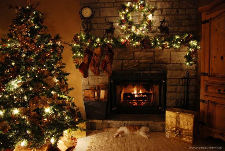 наряженная новогодняя елка в комнате возле горящего камина, dressed Christmas tree in a room near the burning fireplace