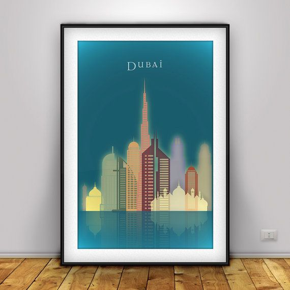 Dubai skyline dubai uae cityscape art print united arab for Home decor uae