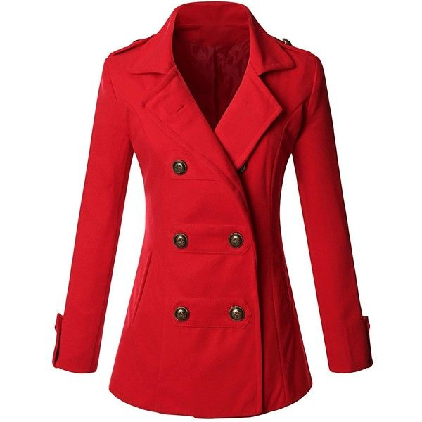 Doublju Women's Double Breasted Pea Coat Jacket (€18) ❤ liked on Polyvore featuring outerwear, jackets, coats, red pea coat, double-breasted pea coat, pea coat, pea jacket and red peacoat