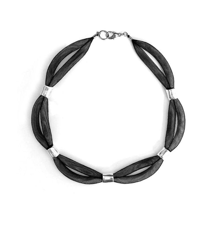 U-Boutique Shops   Necklace,Mesh tube,Silver,Black,Metal bead,Handmade necklace,Beadwork necklace,Woman necklace,Statement necklace,Unique Jewelry   tami peretz