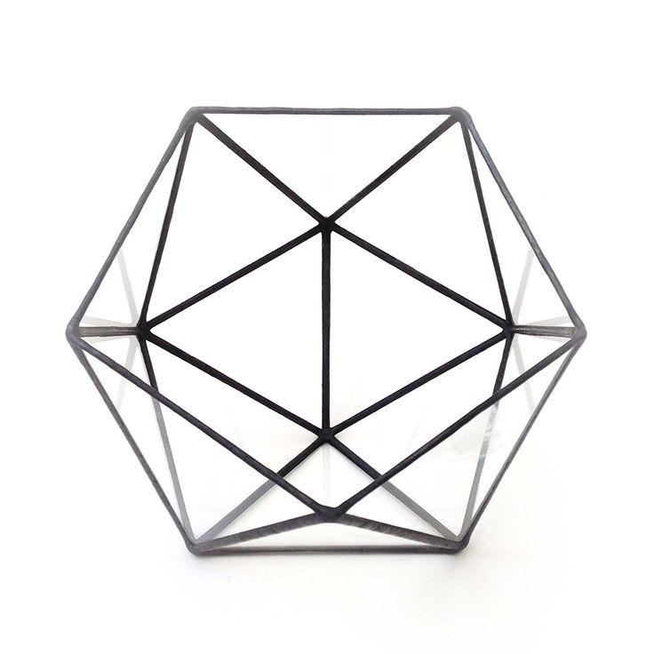 Icosahedron grande in vetro, motivo terrari-Vaso in vetro realizzato a mano, da giardinaggio, per interni, design moderno, in vetro colorato e terrari, realizzato a mano da LoveGlass, Vetro, nero, 19x21x17: Amazon.it: Casa e cucina