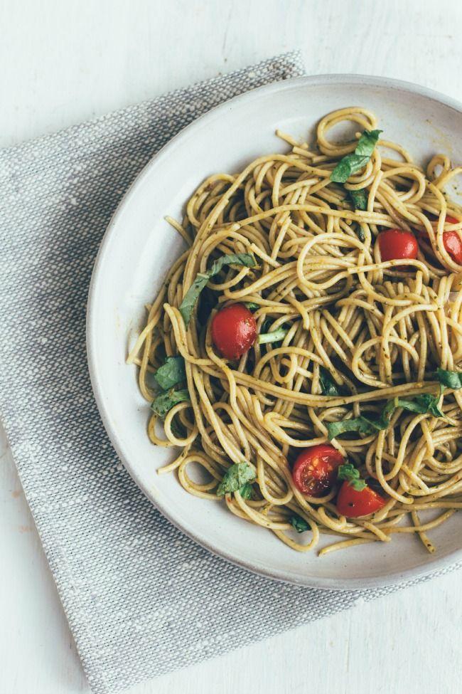 whole wheat pasta with balsamic-spinach-basil dressing via the vanilla bean blog
