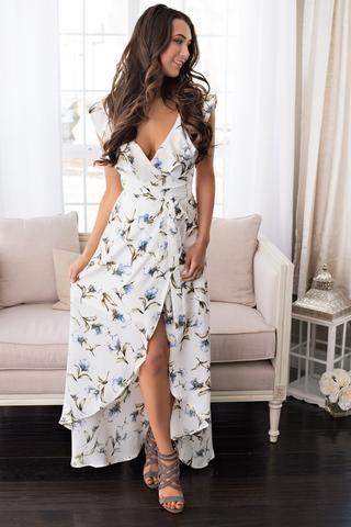 Sunday Morning Ruffled Floral Wrap Dress (Ivory)