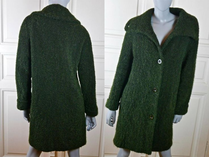 Green Wool Mohair Winter Coat, Finnish Vintage Knee-Length Wide Collar Stunningly Unique Warm Winter Coat: Size 10 (US), 14 (UK) by YouLookAmazing on Etsy