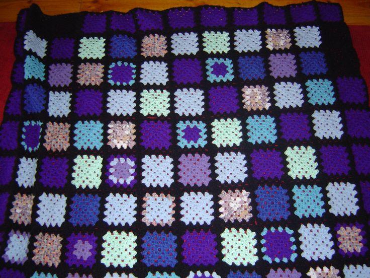 """""""Go Granny"""" crocheted throw rug"""