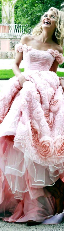 Sherri Hill ~ Asymmetrical Pink Floral Beaded Gown w Natural Waist + Full Taffeta Skirt 2015