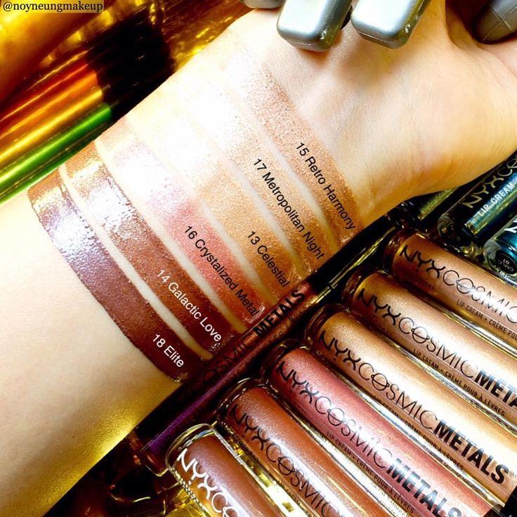 Here's a super nova swatch of our  stellar new Cosmic Metals Lip Cream shades in 'Retro Harmony,' 'Metropolitan Night,' 'Celestial,' 'Crystalized Metal,' 'Galactic Love,' & 'Elite!' ✨cc: @noyneungmakeup    #nyxcosmetics #nyxprofessionalmakeup