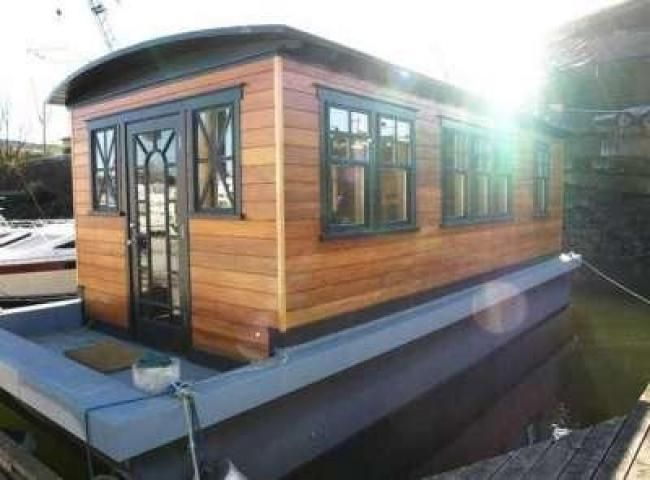 small houseboats custom built tiny house boat 285ft teak - Small Houseboat