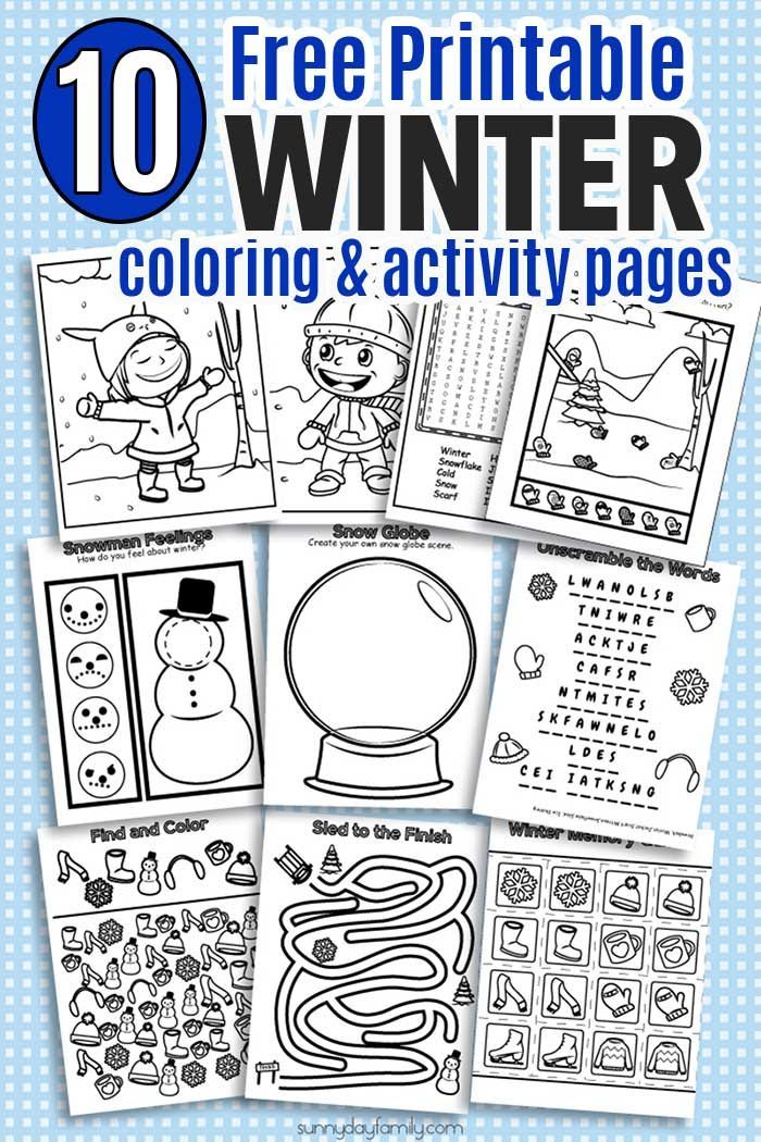 Fun printable winter coloring pages and winter activities for kids! Includes coloring pages, puzzles, games, seek and find, and winter matching, all in ink friendly black and white so kids can color them too. Perfect for winter break, snow days, sick days, or anytime!