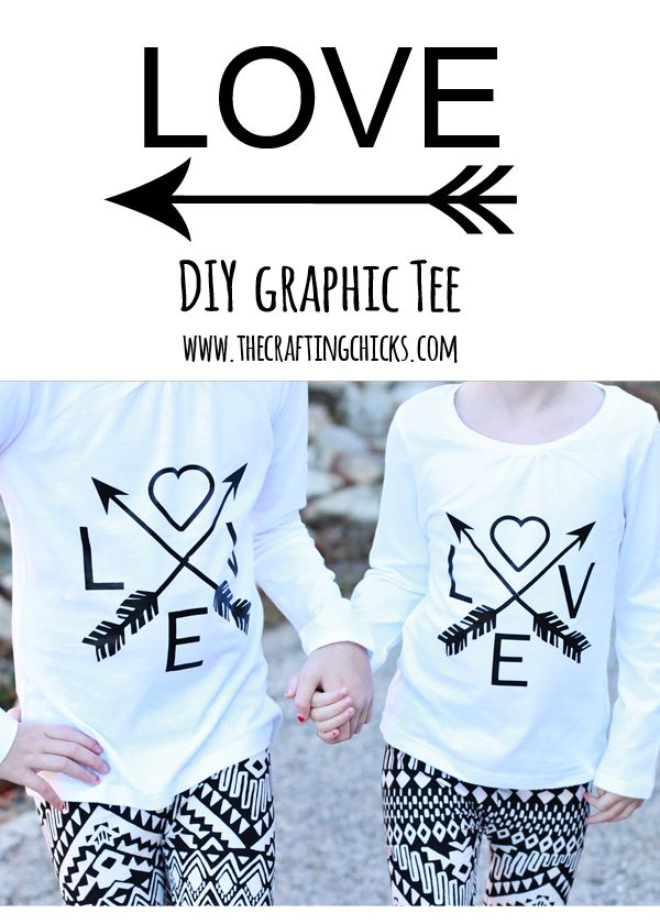 DIY love tshirt for Valentines Day. Cute matching arrow tshirts for sisters or as a mommy and me shirt.