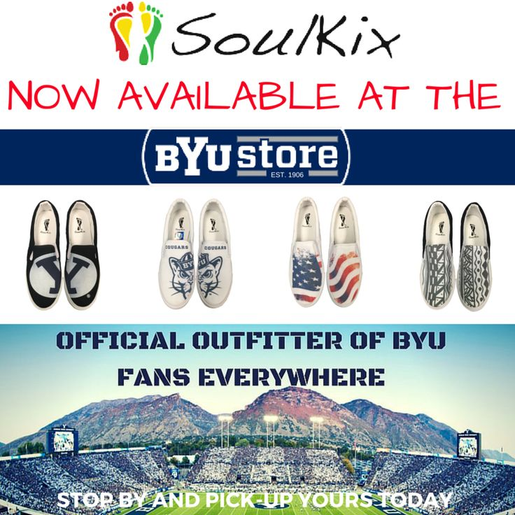 That's right, the BYU Store has SoulKix. Be sure to swing by and pick-up a pair today. @byustore @byucougars @byuradio @byuroc @brighamyounguniversity @byu #byu #soul_kix #custom #footwear #cougars #tribal