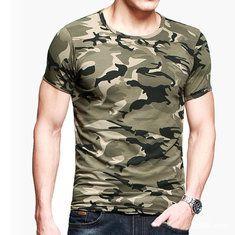 #Banggood Лето Мужская Военный камуфляж с короткими рукавами футболки хлопок вокруг шеи Открытый Спорт Рубашки (1133245) #SuperDeals