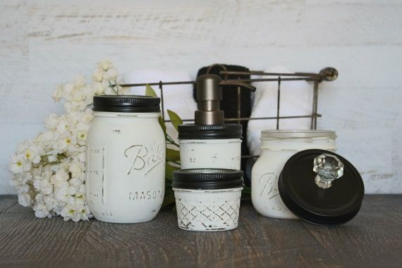 Classic Black And White Mason Jar Bathroom Set Bronze Pump Rustic Distressed Shabby Chic Cottage Country Home Decor Soap Dispens Seifenspender Cool Diy