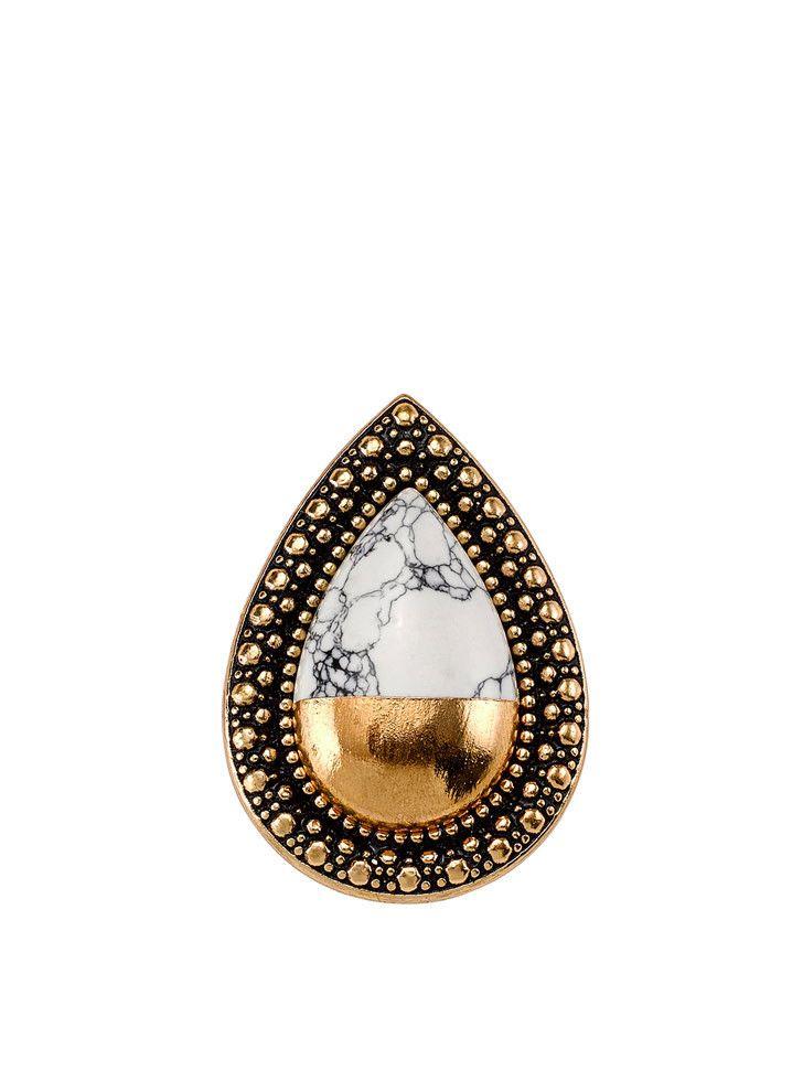 Samantha Wills - Bohemian Bardot Ring - Gold Dipped White Howlite - $129.00