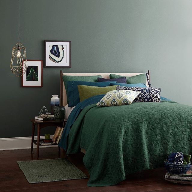 Dark Grey Green Walls And Bedding In Range Of Muted Shades Moss