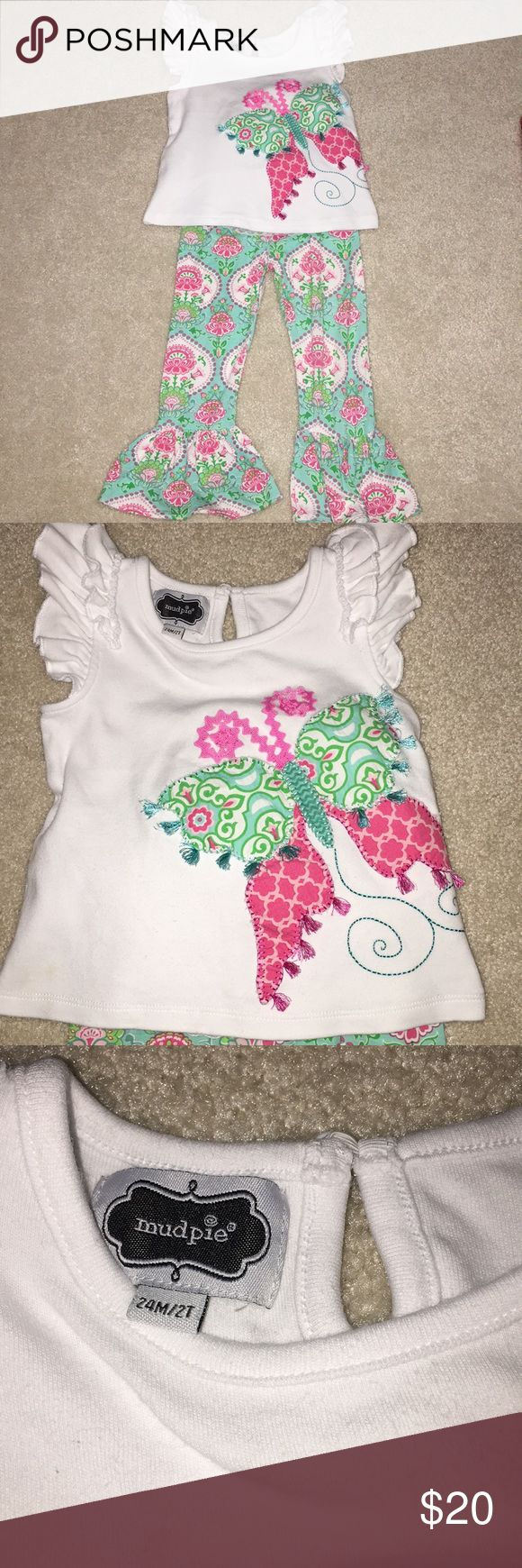 Mud pie outfit Paisley bell bottom pants. White top with beautiful butterfly. The back has amazing ruffle detail with pink bow. One of my favorite outfits!! In perfect condition. Worn twice. Mud Pie Matching Sets