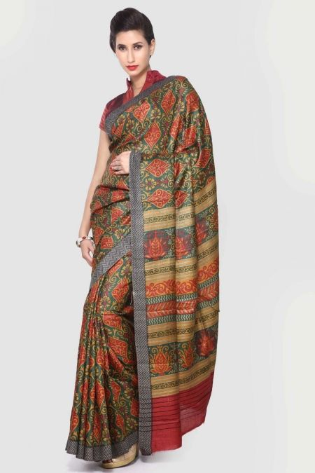Traditional Bottle Green Printed Pashmina Silk Saree