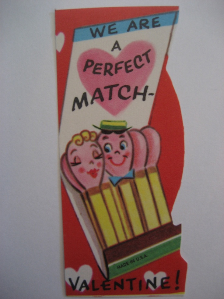 Vintage Valentine Card Anthropomorphic Book of Matches A Perfect Match Unused | eBay: Vintage Valentines, Nostalgia Valentines, Kids Cards, Anthropomorph Books, Cards Anthropomorph, Retro Valentines, Valentine Cards, Anthro Valentines, Valentines Cards