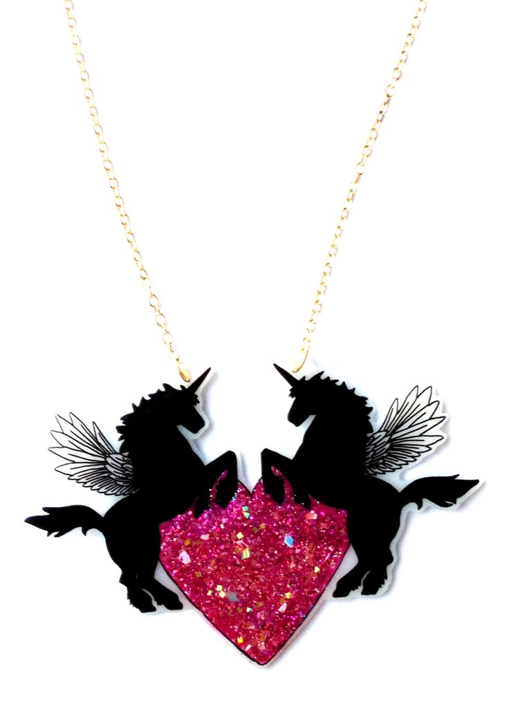 Unicorn Pegasus Necklace & Bright Pink Glittery Rainbow Heart - Pretty Holographic Pink Sparkle - Winged Horse / UniPeg / PegaCorn / Alicorn. £25.50, via Etsy.