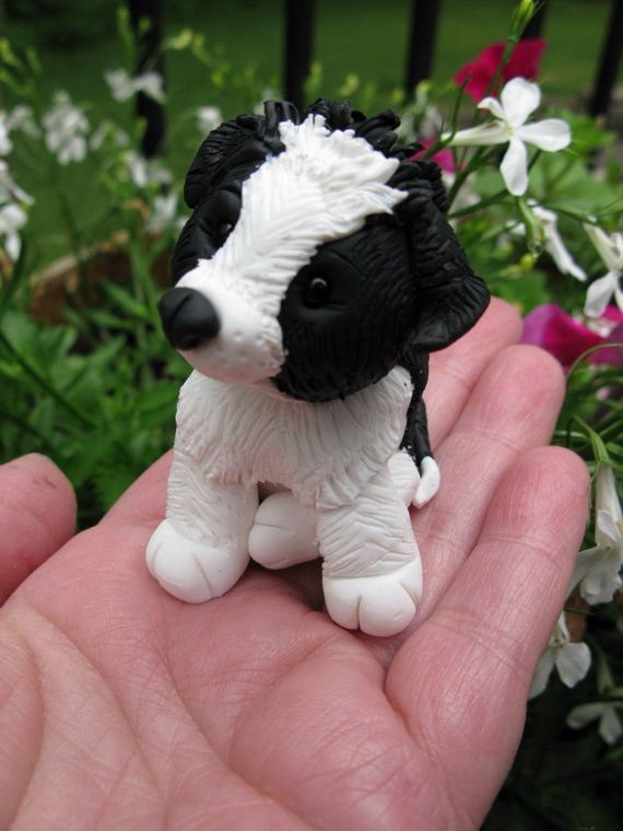 Border Collie Polymer Clay Puppy by MichellesClayCorner on Etsy
