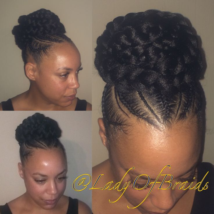 Love this Cute goddess braids into a bun  protective hairstyle on natural hair with braided cornrows updo ponytail
