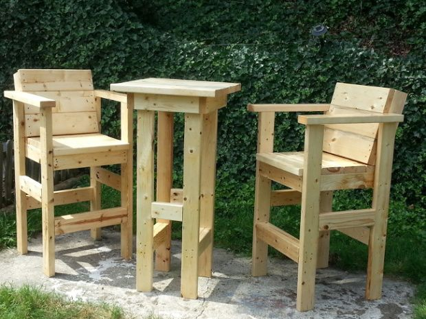 Tall stools and table from scrap lumber