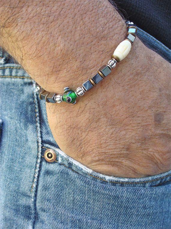 Men's Spiritual Bracelet with Evil Eye Lampwork by tocijewelry, $40.00