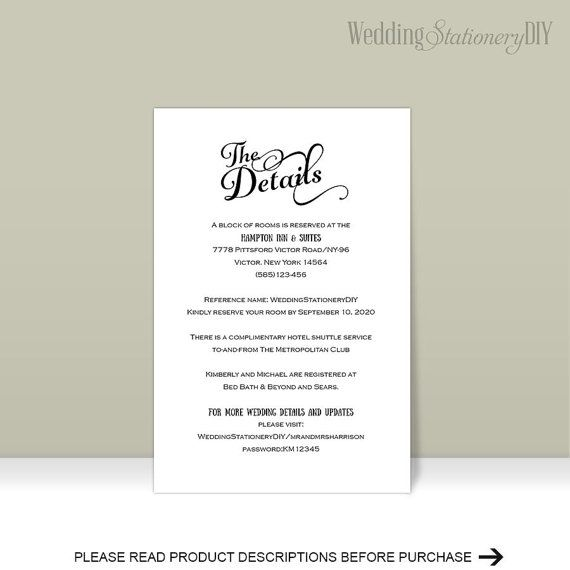 Wedding details card wedding enclosure by WeddingstationeryDIY