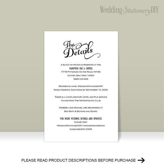 Wedding details card wedding enclosure by WeddingstationeryDIY
