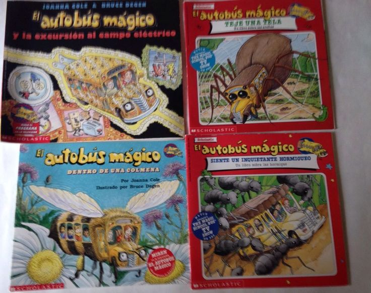 LOT OF FOUR   4  MAGIC SCHOOL BUS  EL AUTOBUS MAGICO IN SPANISH