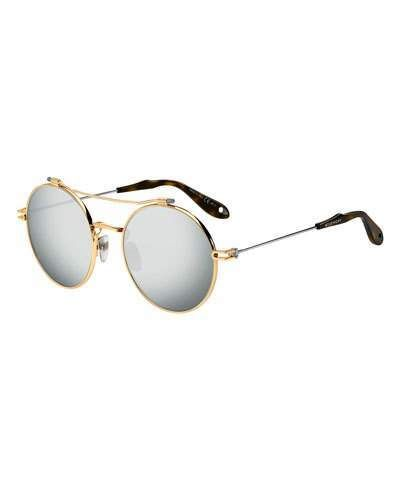 f64b54046a69 Givenchy Men's Round Mirrored Metal Sunglasses #givenchy #sunglasses ...