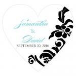 Wedding Stickers - Wedding Labels - Love Bird Damask Heart Sticker Labels (15 Colors)