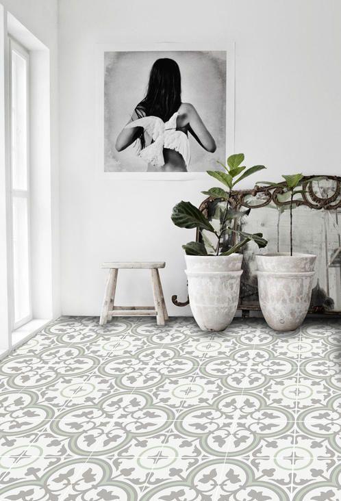 Vinyl Floor Tile Sticker - Trefle Thistle | Quadrostyle.com - Peel N' Stick Tile Stickers