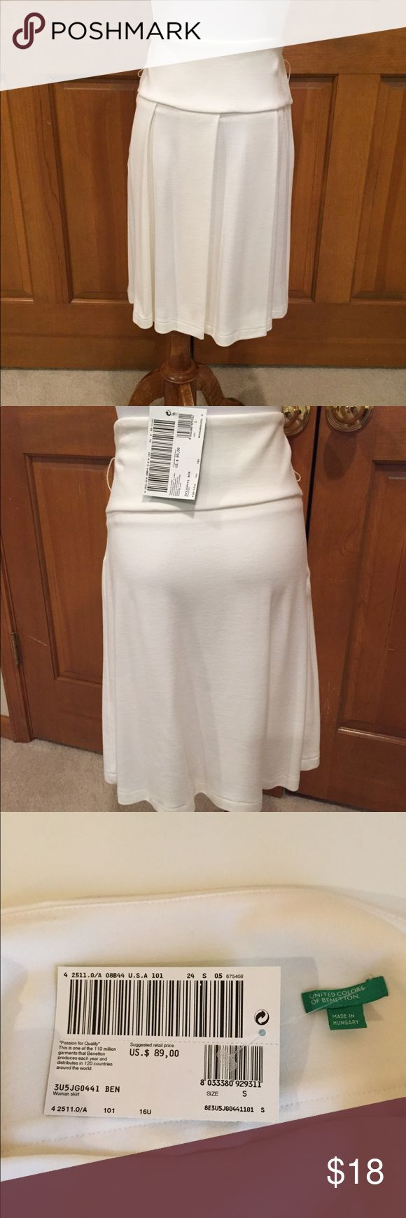 """Benetton NWT Cream Knit Skirt Super soft cream knit skirt by Benetton. Size Small measures 14 1/2"""" across waist and   """" in length. Flattering pleats. Great for the office. Just listed! United Colors Of Benetton Skirts A-Line or Full"""