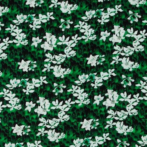 Vävd viscose klargrön m vit blomma textile