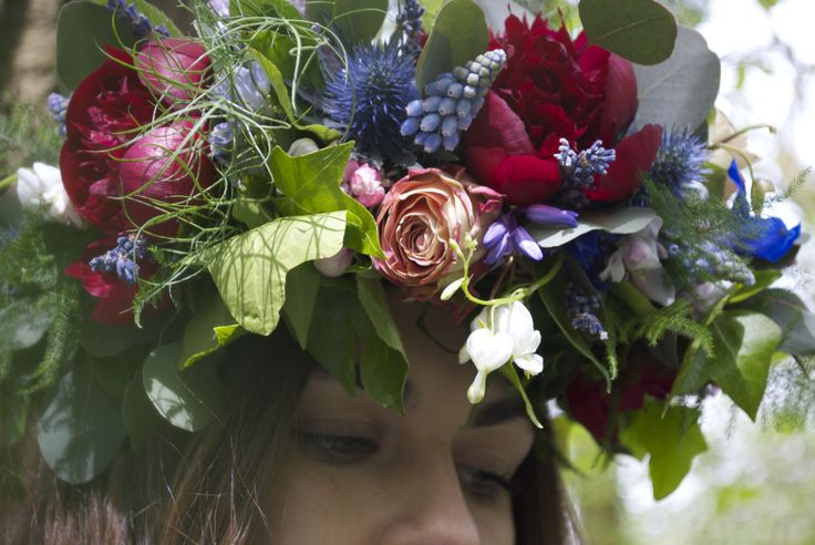 Boho Bridal Crown of red Peonies, upper secret Roses, blue Nigella, blue Muscari, blue bells and tree blossom, created by www.hannahberryflowers.co.uk
