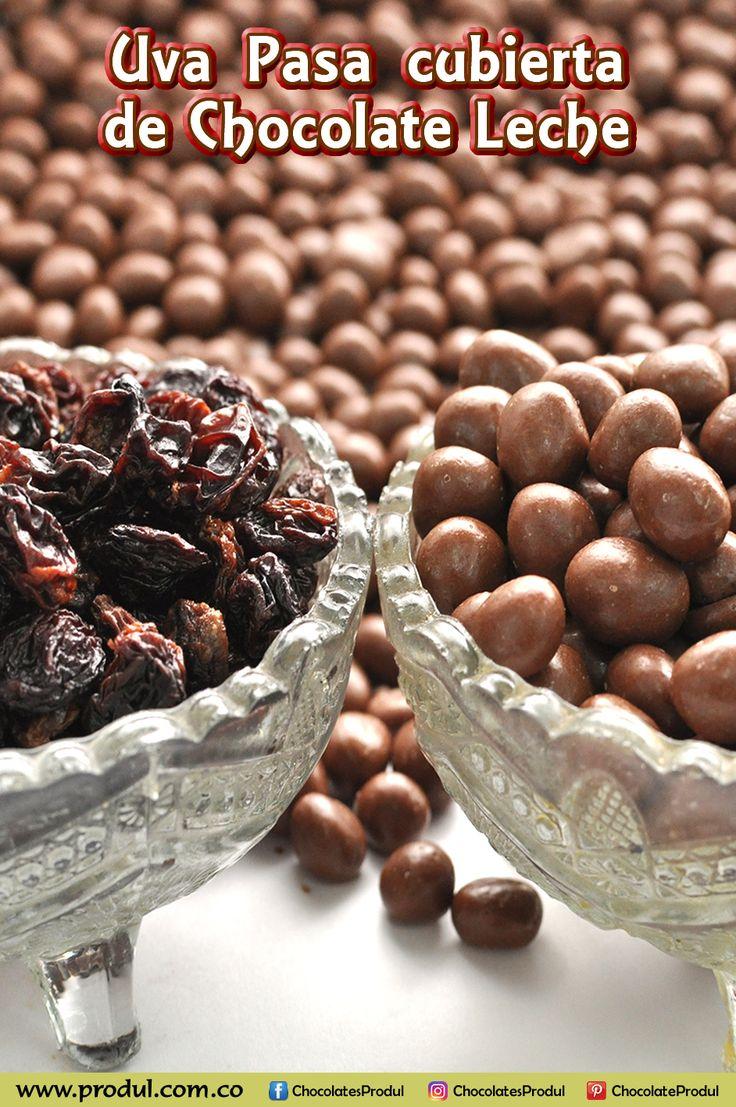 La mejor selección de uvas pasas chilenas, cubiertas de chocolate leche tipo Suizo a base de manteca de cacao. www.produl.com.co