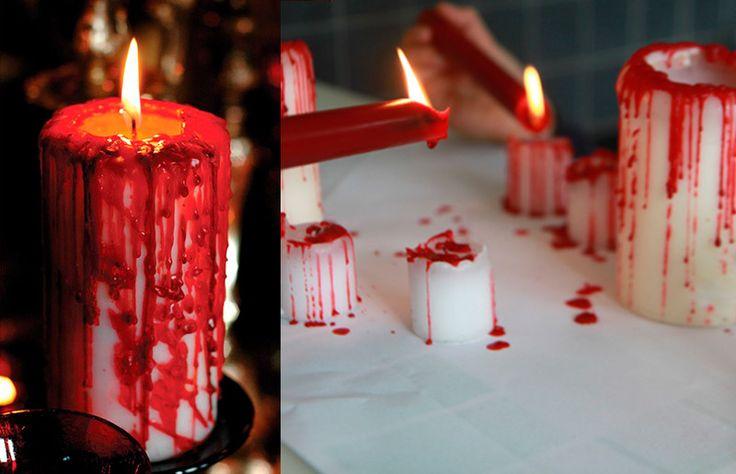 Ideia e inspiração para decoração de festa de Halloween / Dia das Bruxas // Vela com sangue! // +em casaecozinha.com :-)