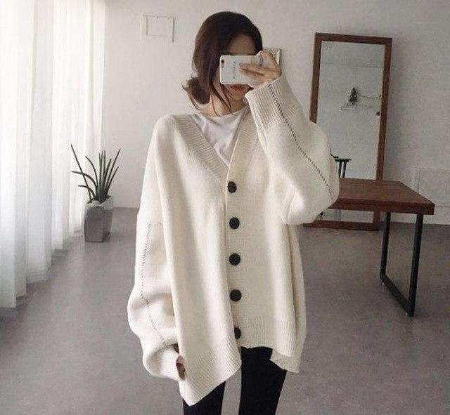 autumn winter warm sweater coats women knitting jackets long sleeve loose korean single button plus size outwear N637 Beige One 2