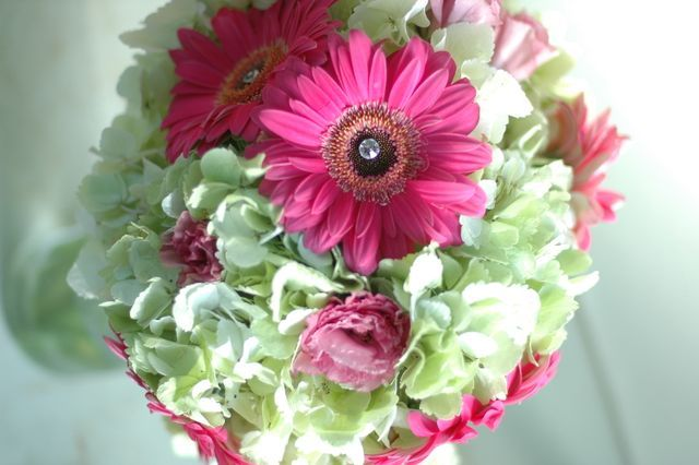 Hydrangea and gerbera bridal bouquet