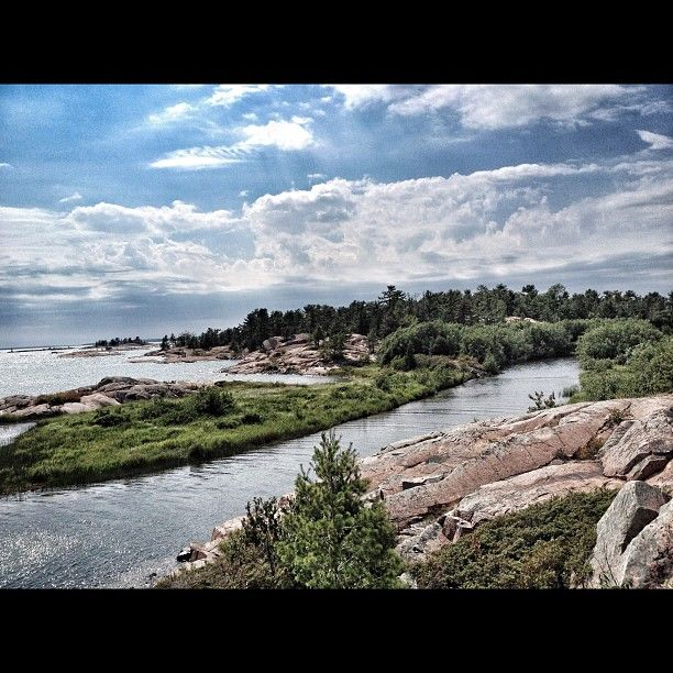 The beautiful view from a trail in Killarney Provincial Park.