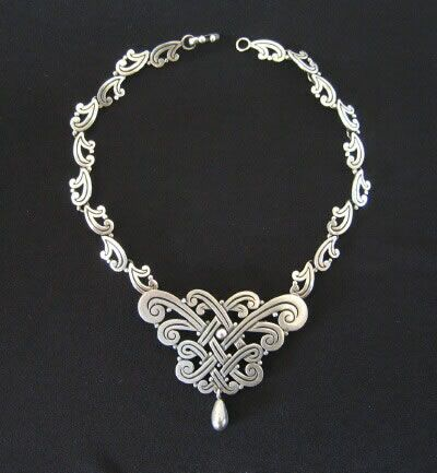 Necklace | Los Castillo.  Sterling silver.  ca. 1950s.  The center piece can be removed and worn as a brooch.