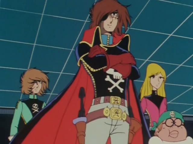 Harlock with Dadashi, Kei and Yatteran