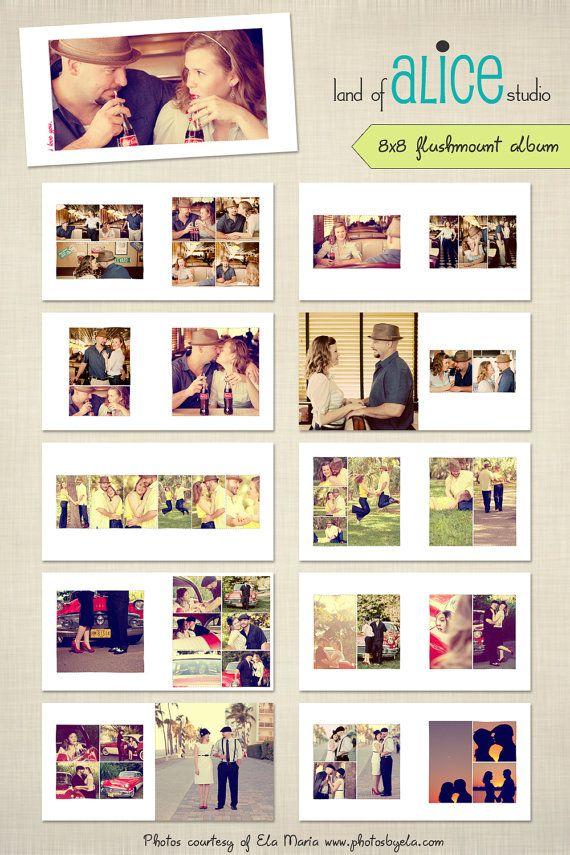 8x8 Photo Album Template  hand drawn frames  by landofalicestudio, $25.00