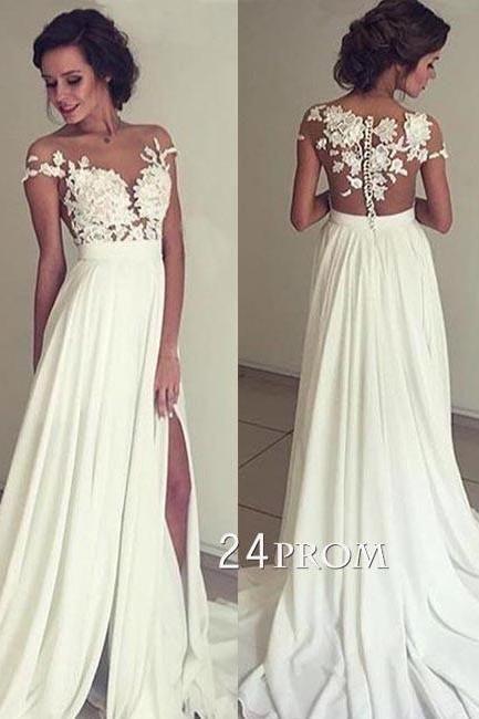 lace chiffon lace round neck long prom dress, evening dress