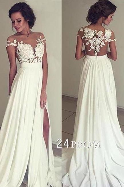 lace chiffon lace round neck long prom dress, evening dress