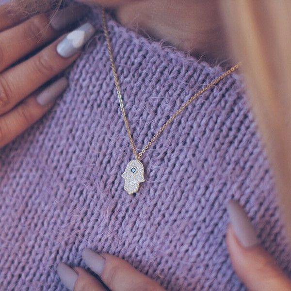 Small Hamsa Necklace, 925 Sterling Silver, 14K Gold Plated Hand of Fatima Necklace - TZARO Jewelry